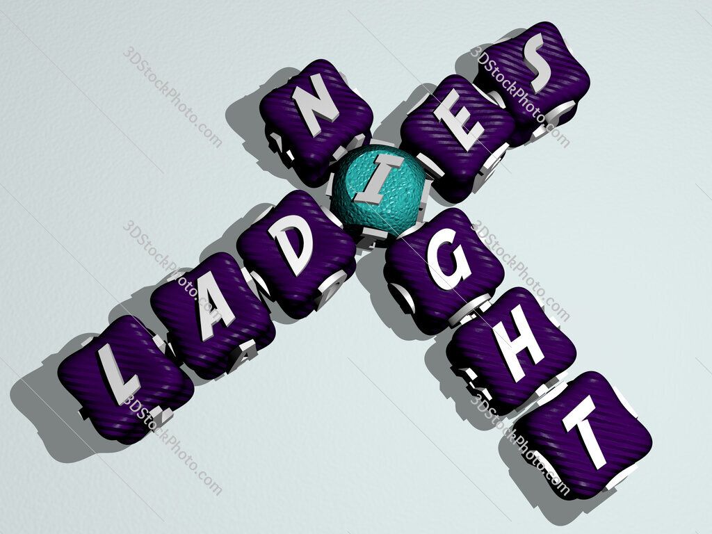 ladies night crossword of colorful cubic letters