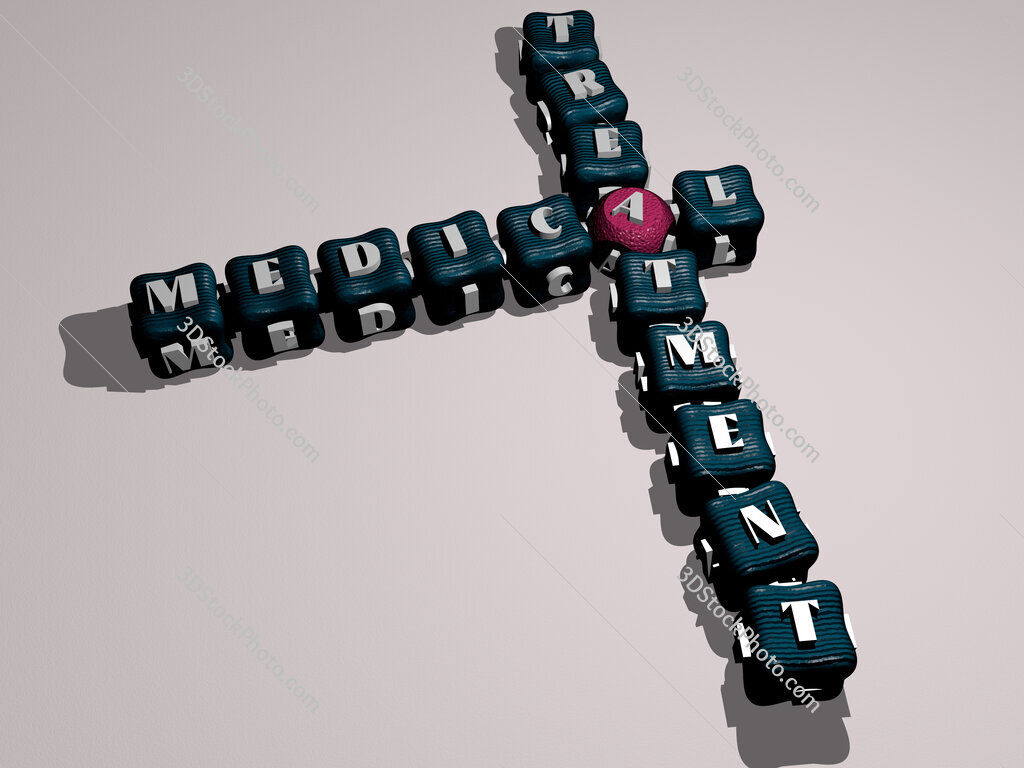 medical treatment crossword of colorful cubic letters