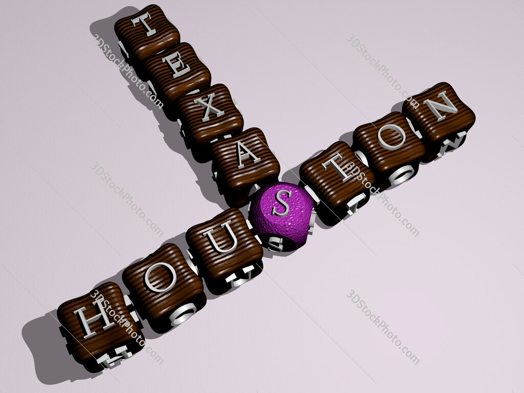 houston texas crossword of colorful cubic letters