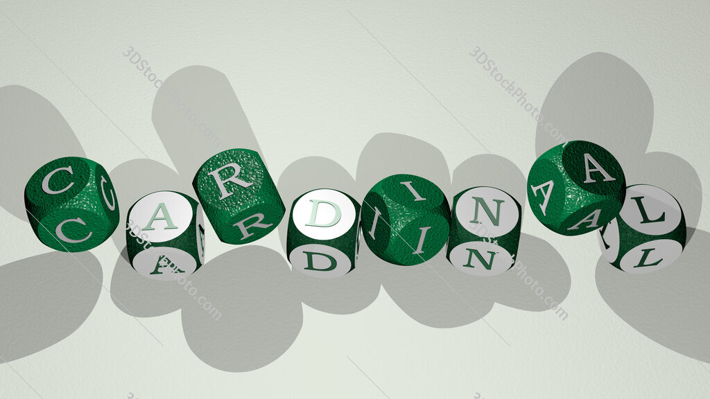 cardinal text by dancing dice letters