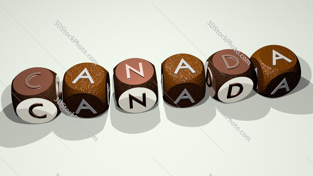 canada text by dancing dice letters