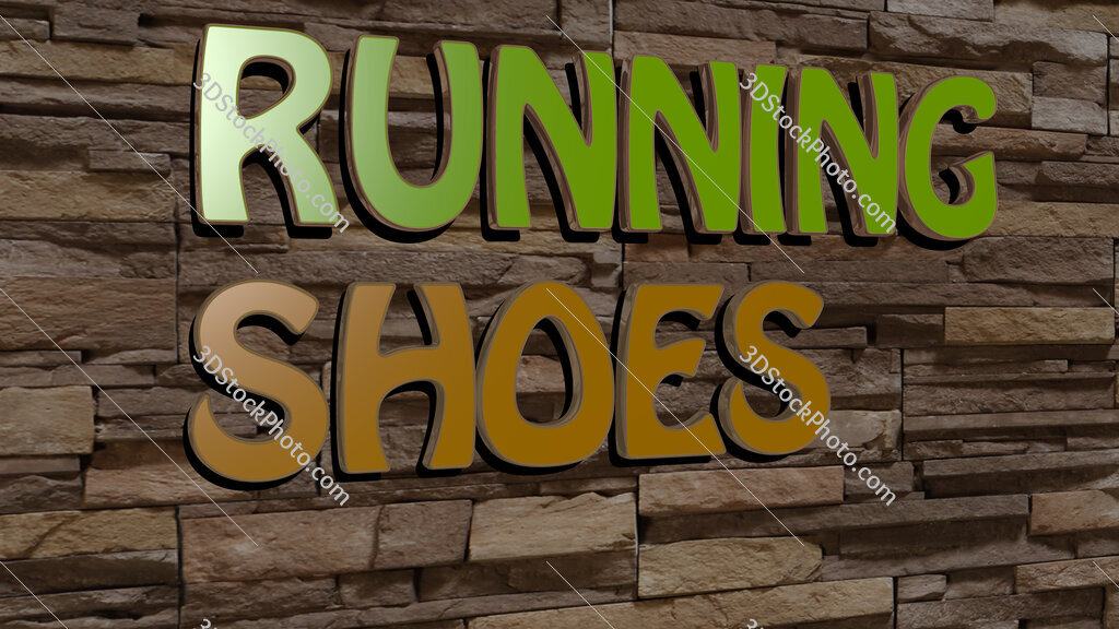 running shoes text on textured wall