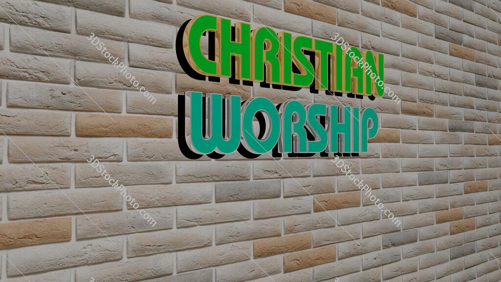 christian worship text on textured wall