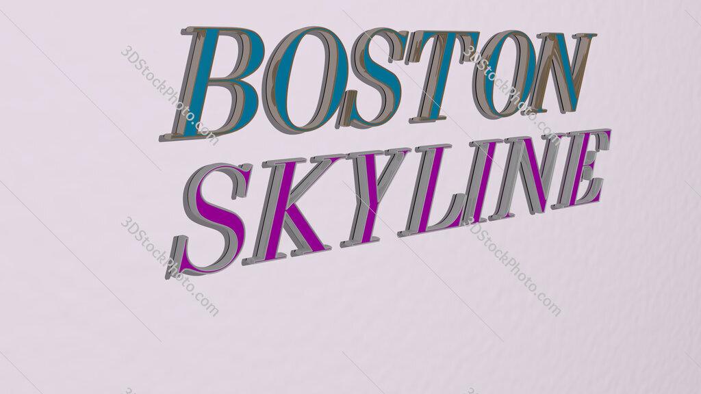 boston skyline text on the wall