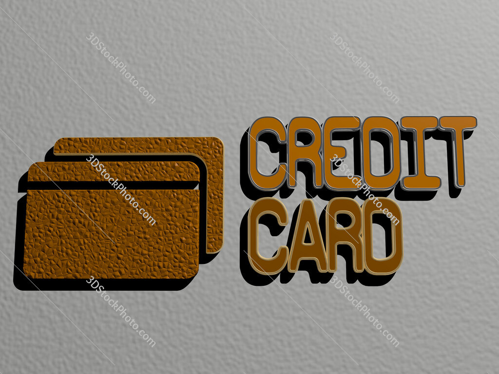 credit card icon and text on the wall