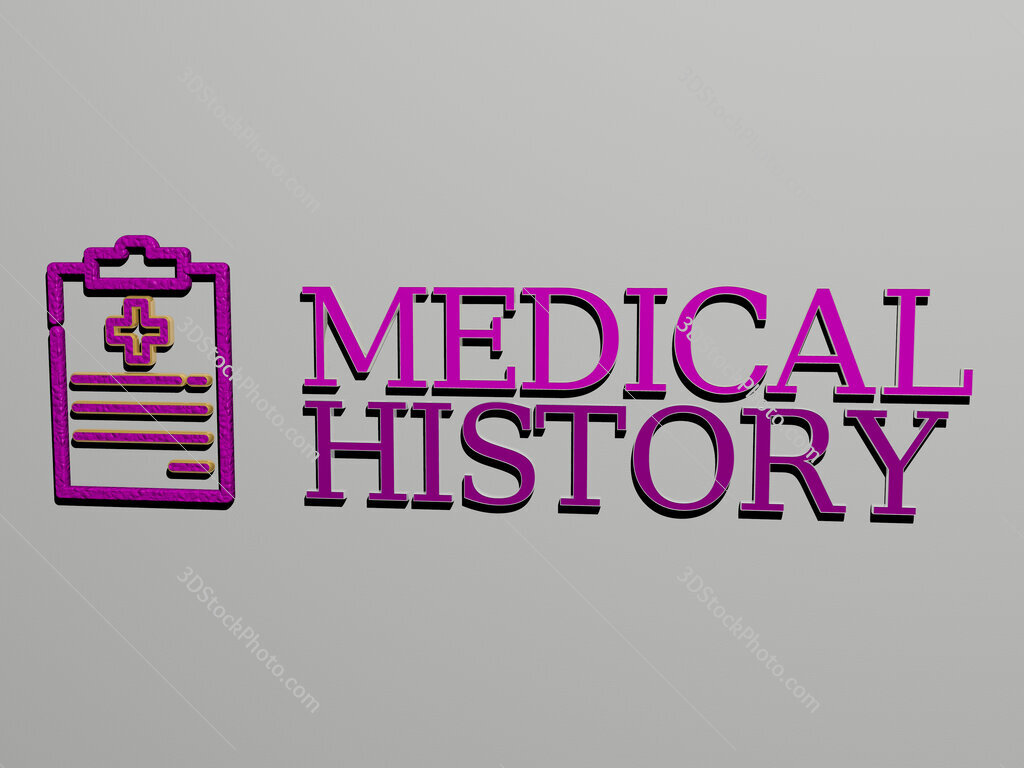 medical history icon and text on the wall