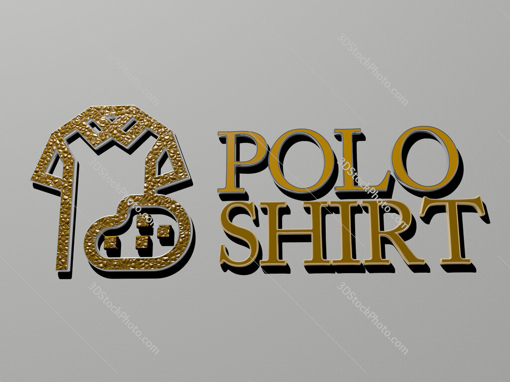 polo shirt icon and text on the wall