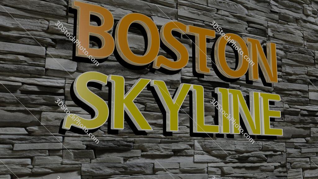 boston skyline text on textured wall