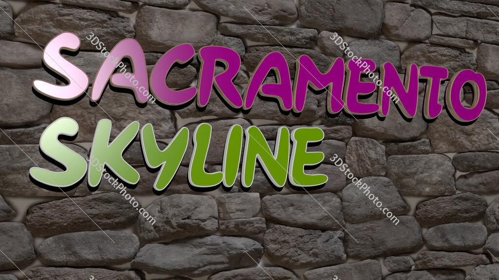 sacramento skyline text on textured wall