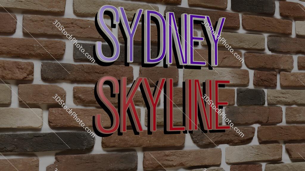 sydney skyline text on textured wall