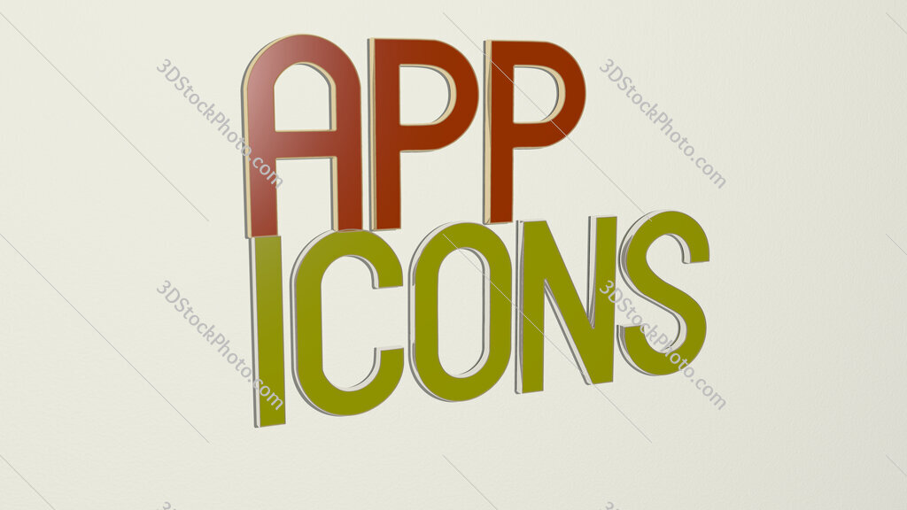 app icons text on the wall