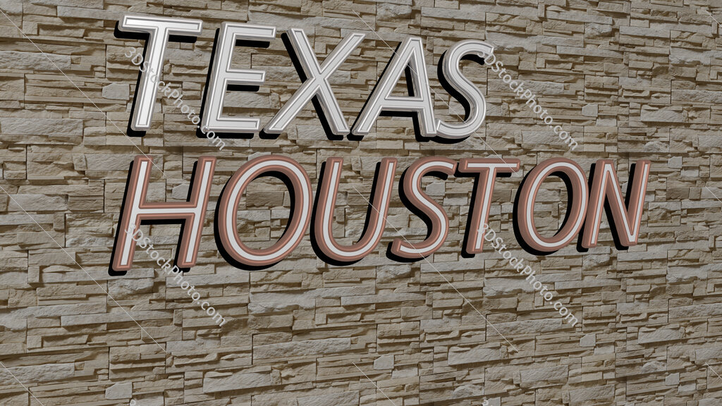 texas houston text on textured wall