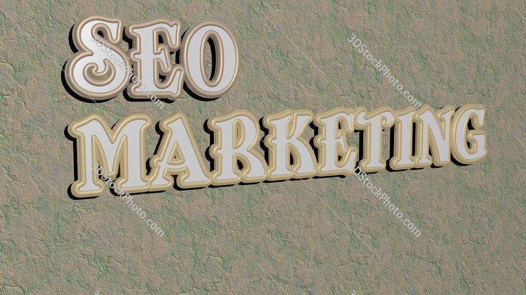 seo marketing text on textured wall