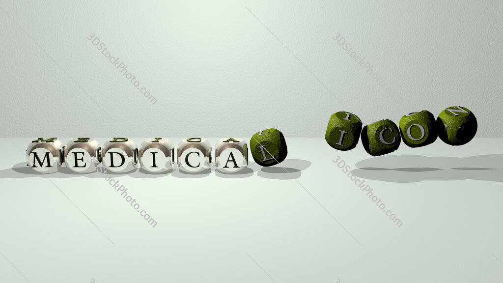 medical icon dancing cubic letters