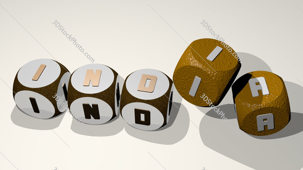 india text by dancing dice letters