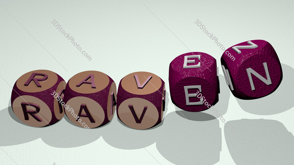raven text by dancing dice letters