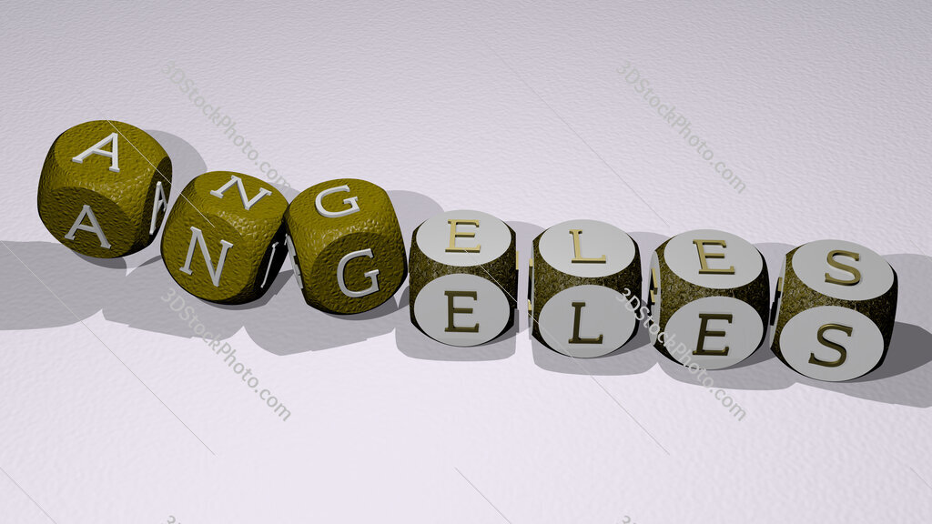 angeles text by dancing dice letters