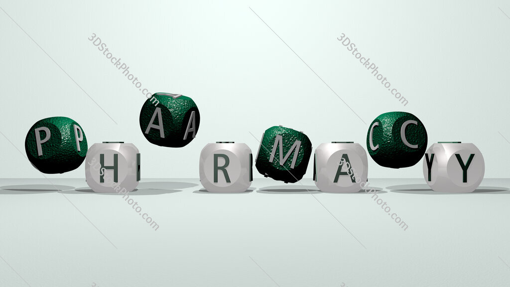 pharmacy dancing cubic letters