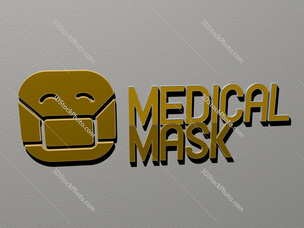 medical mask icon and text on the wall