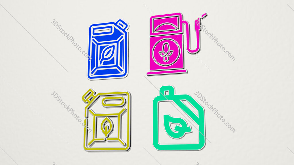 Biofuel colorful set of icons