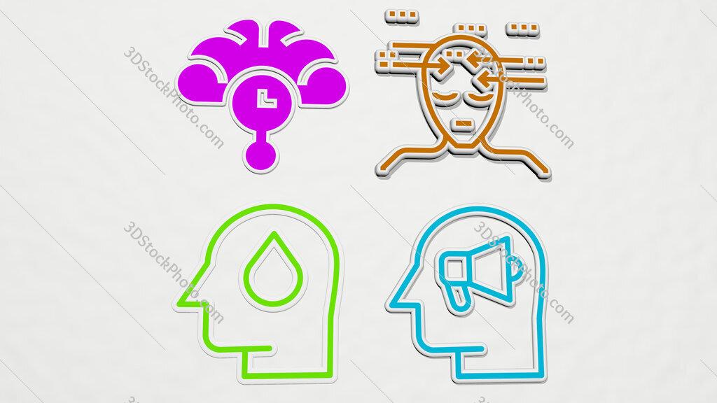 thinking colorful set of icons