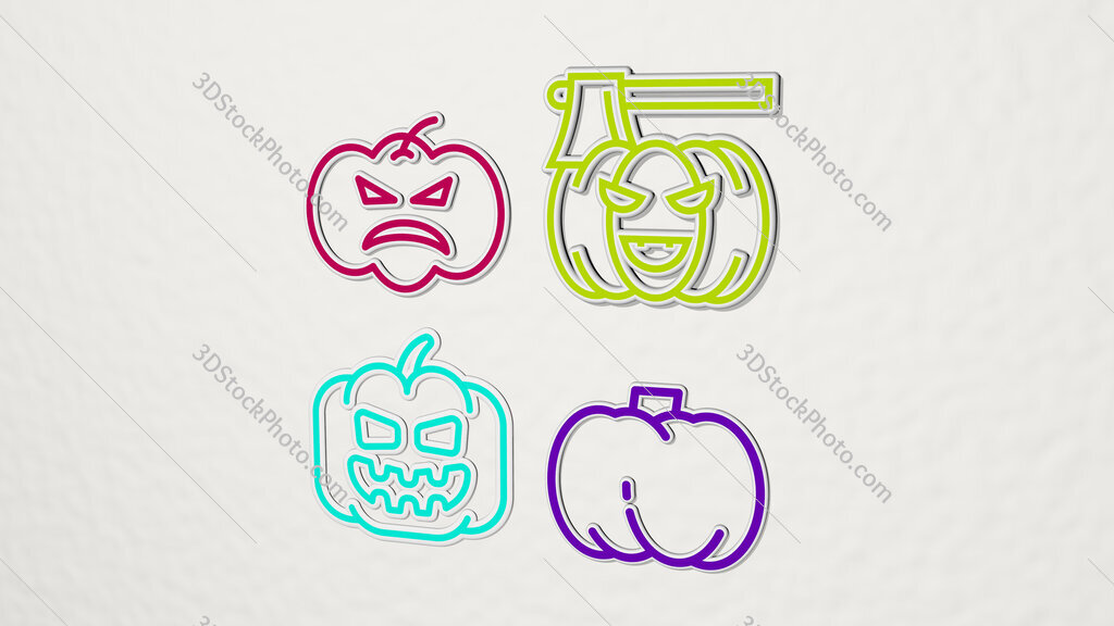 Pumpkin colorful set of icons