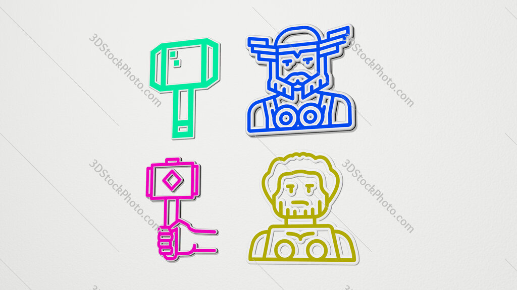 thor colorful set of icons