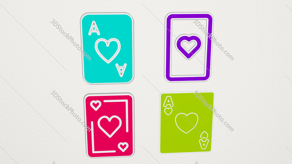 ace of hearts colorful set of icons
