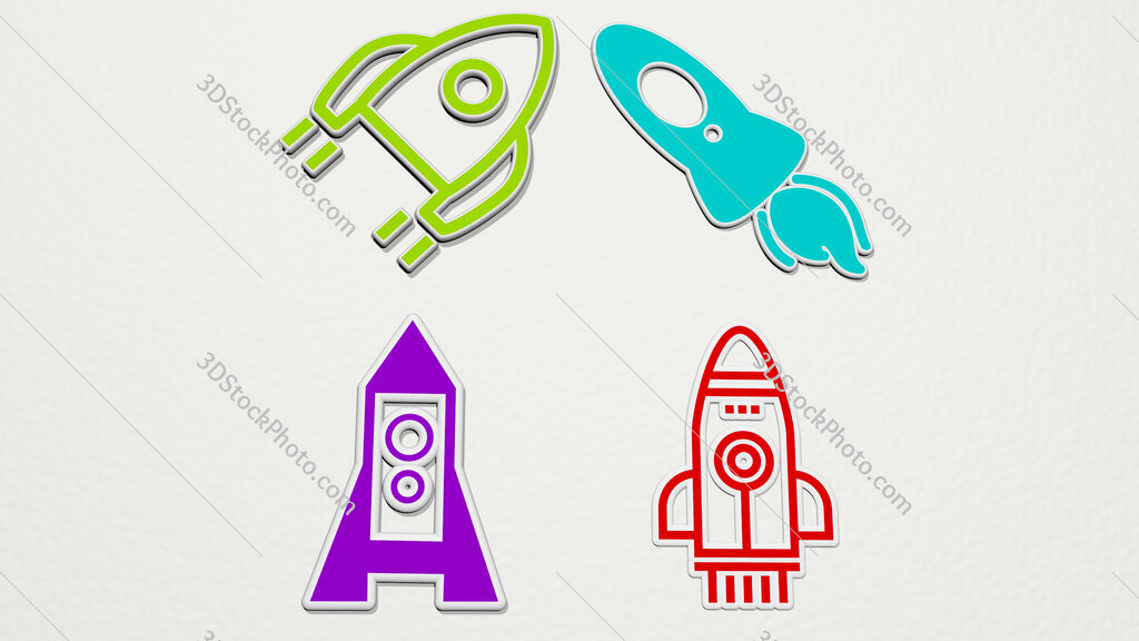 rocket ship colorful set of icons