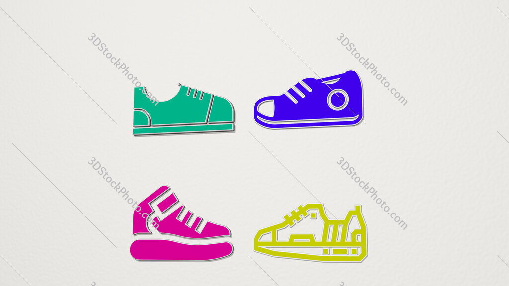 sneaker colorful set of icons