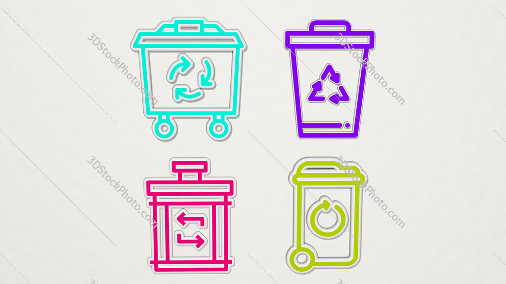 recycling bin colorful set of icons