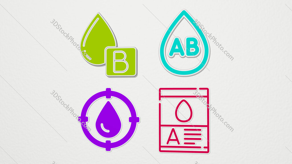 blood type colorful set of icons