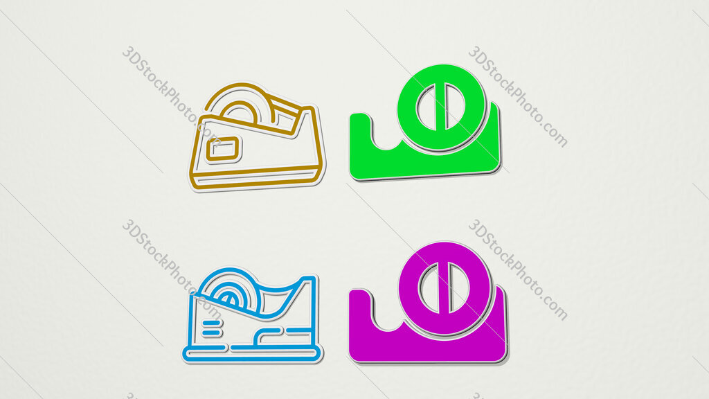 tape dispenser colorful set of icons