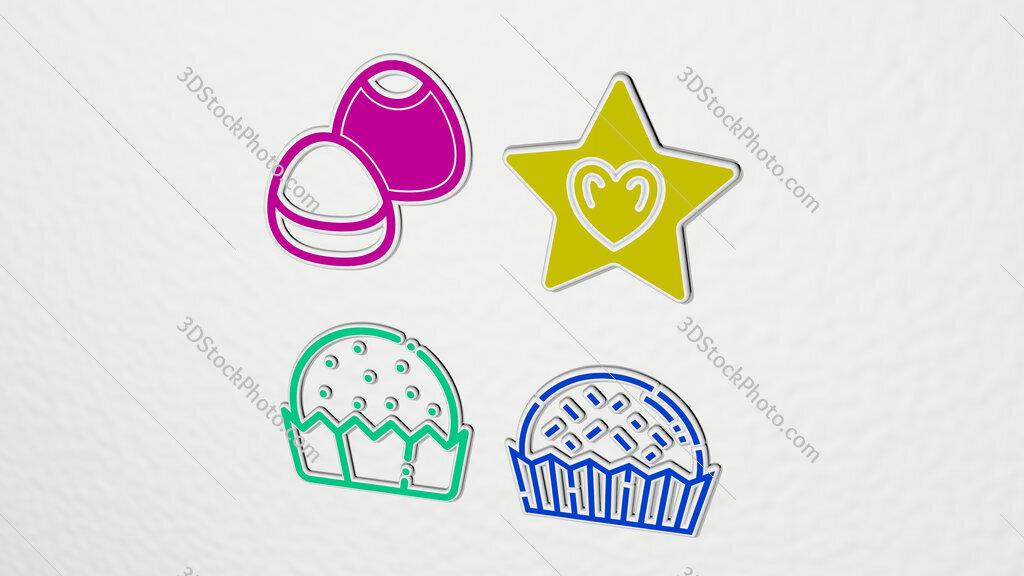 Bonbon colorful set of icons
