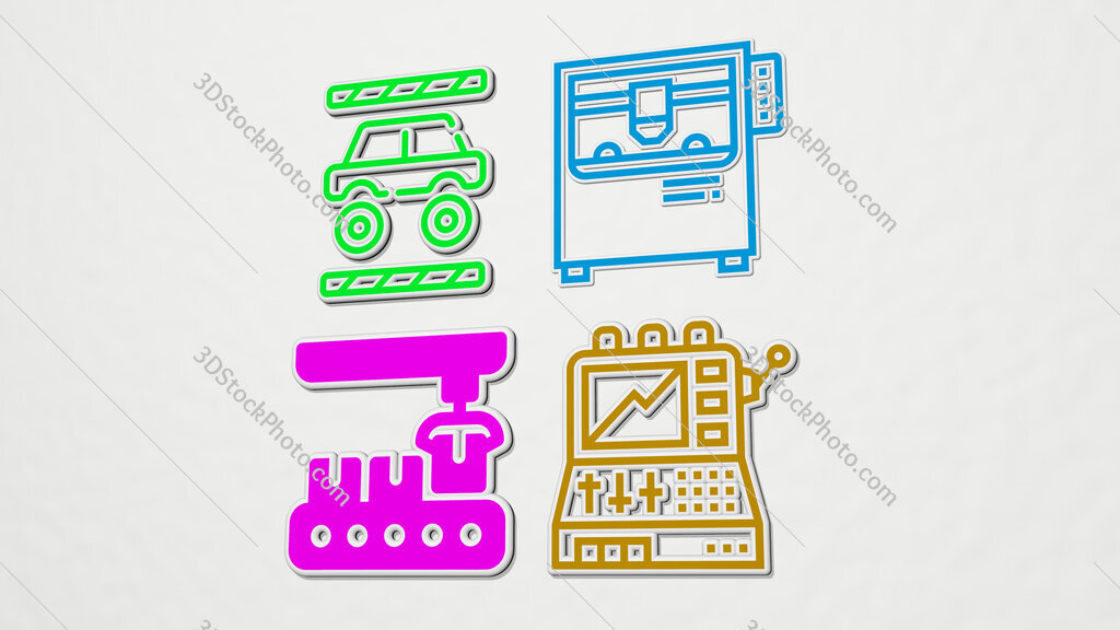 machine colorful set of icons