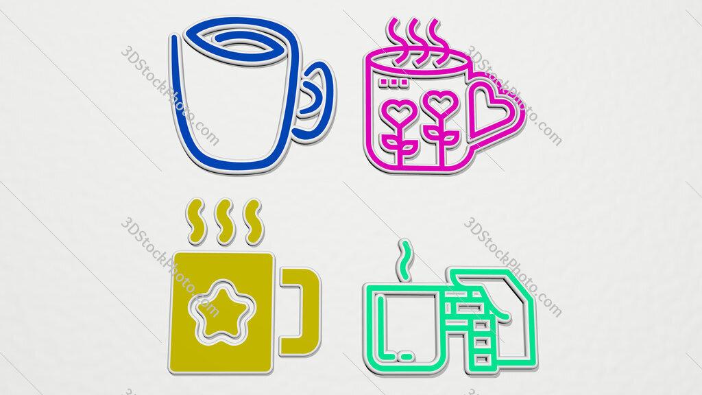 coffee-mug colorful set of icons