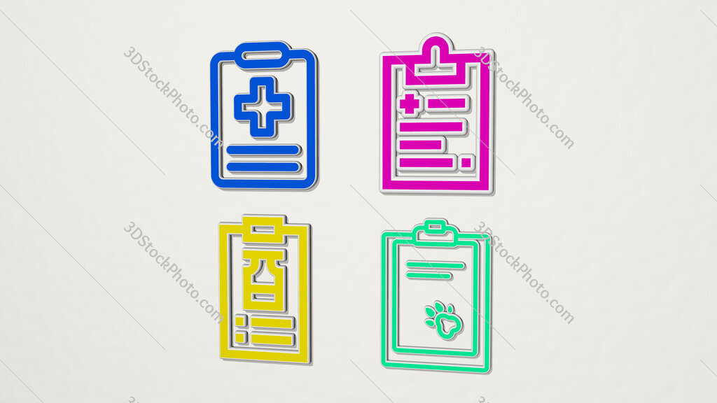 medical report colorful set of icons