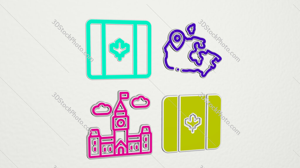 canada colorful set of icons