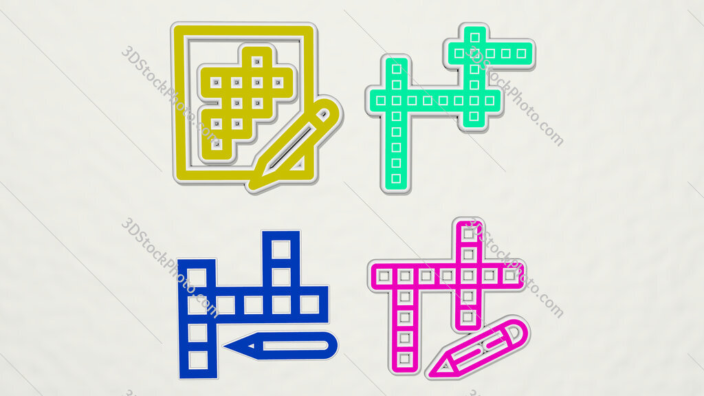 crossword colorful set of icons