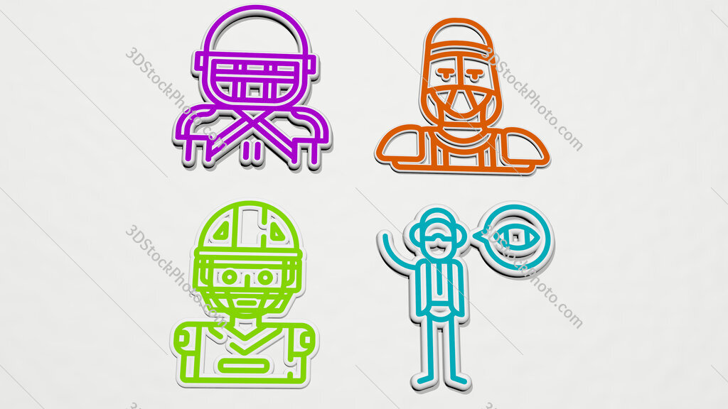 american football player colorful set of icons