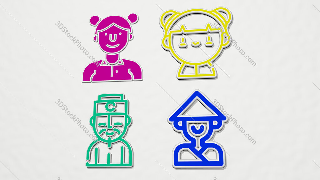chinese colorful set of icons