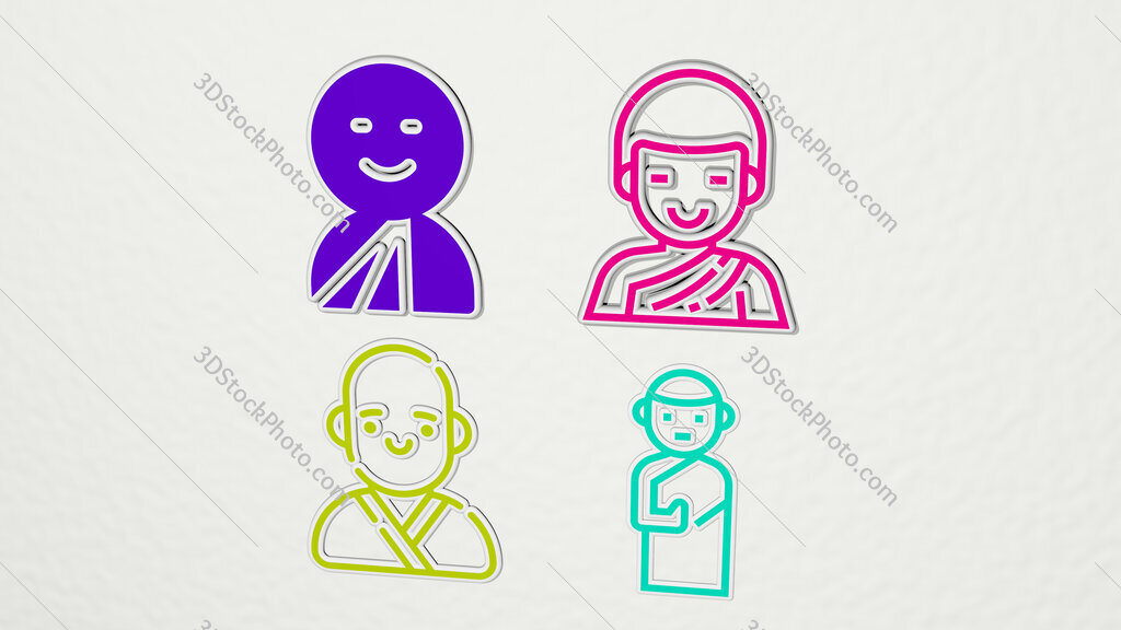 monk colorful set of icons