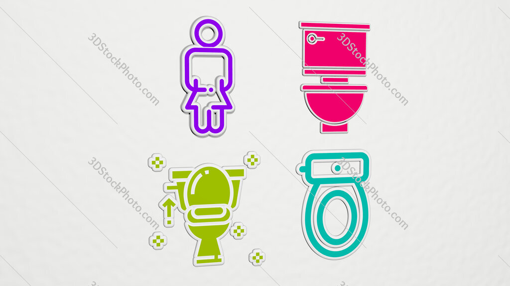 toilet colorful set of icons