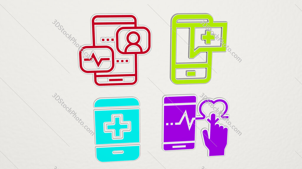 medical app colorful set of icons