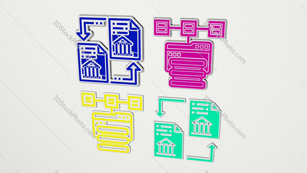 distributed colorful set of icons