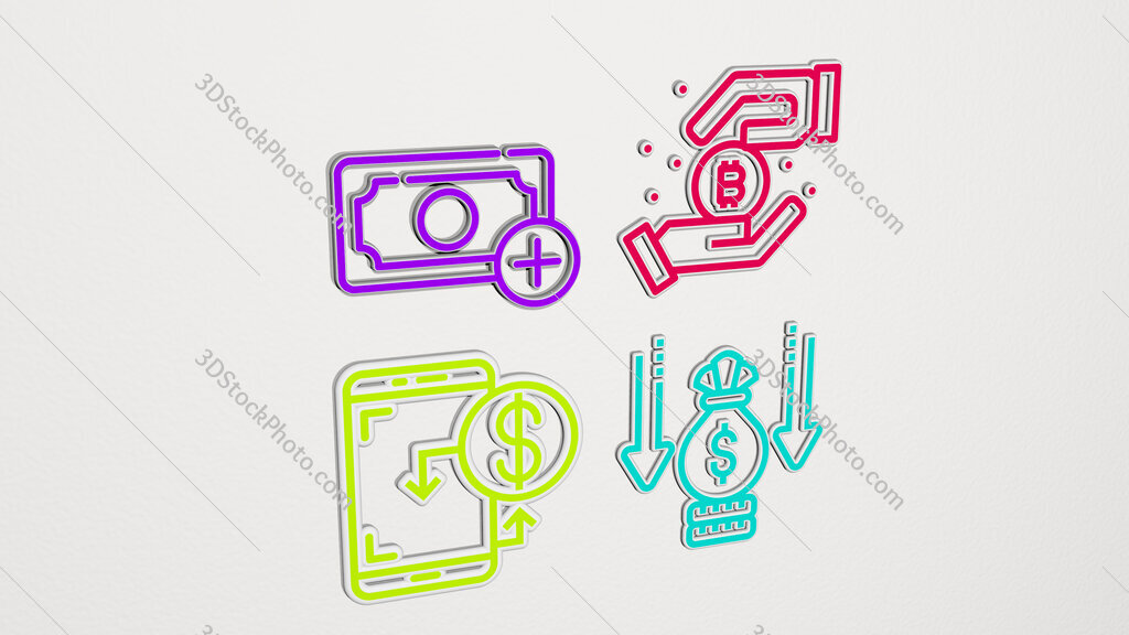 income colorful set of icons