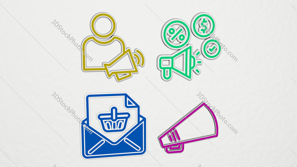 announcement colorful set of icons