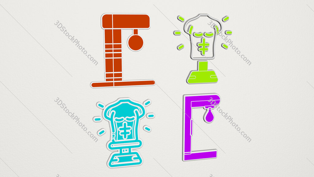 boxing machine colorful set of icons