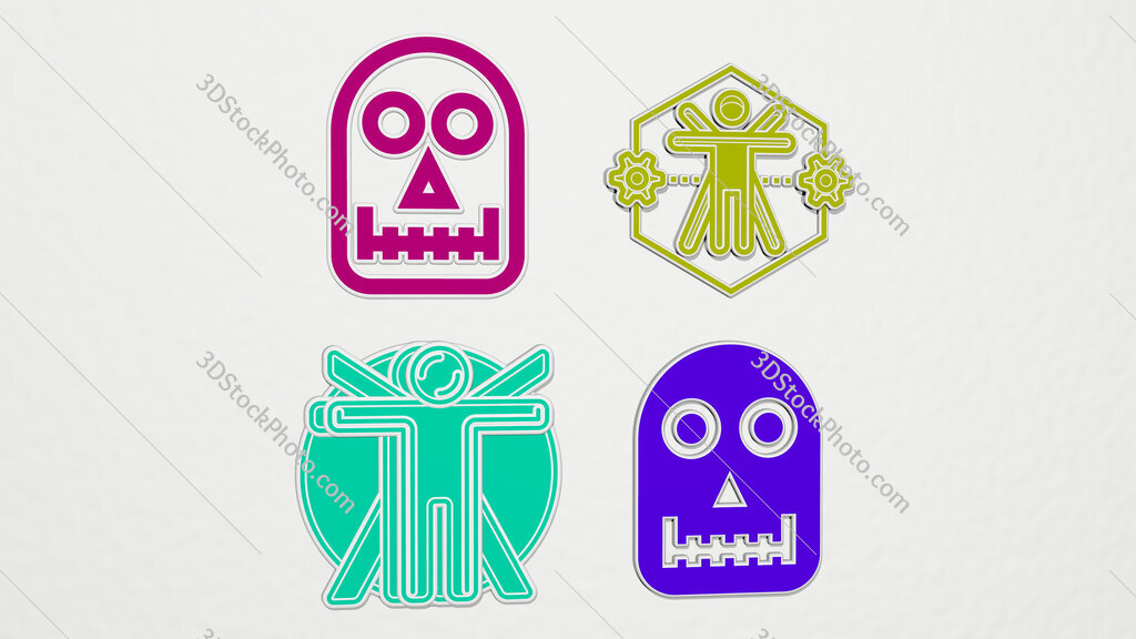 Anthropology colorful set of icons