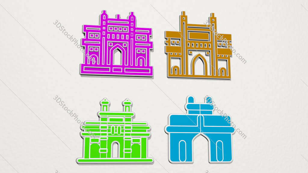 gate of india colorful set of icons